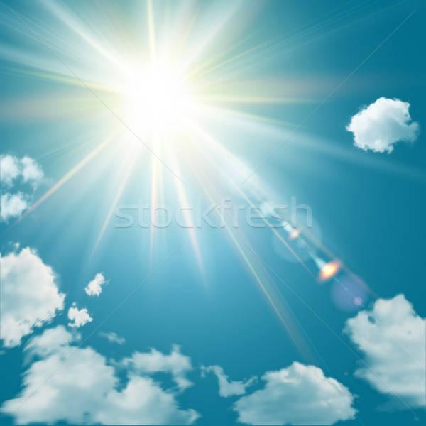 Valósághű ragyogó nap becsillanás kék ég felhők Stock fotó © alevtina