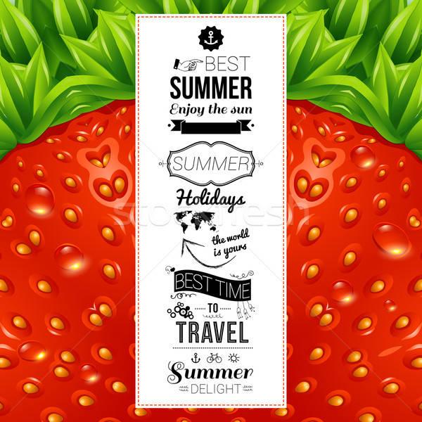 ストックフォト: 夏 · ポスター · オプティカル · イチゴ · パターン · ベクトル