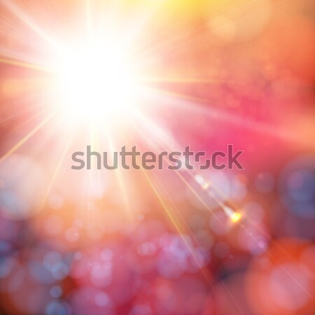Bright shining sun with lens flare. Soft bokeh background. Stock photo © alevtina