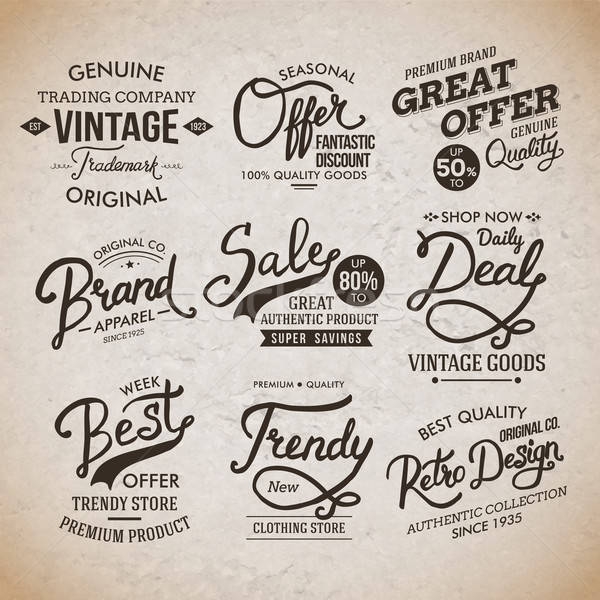 Vintage Fashion Labels on Light Brown Background Stock photo © alevtina