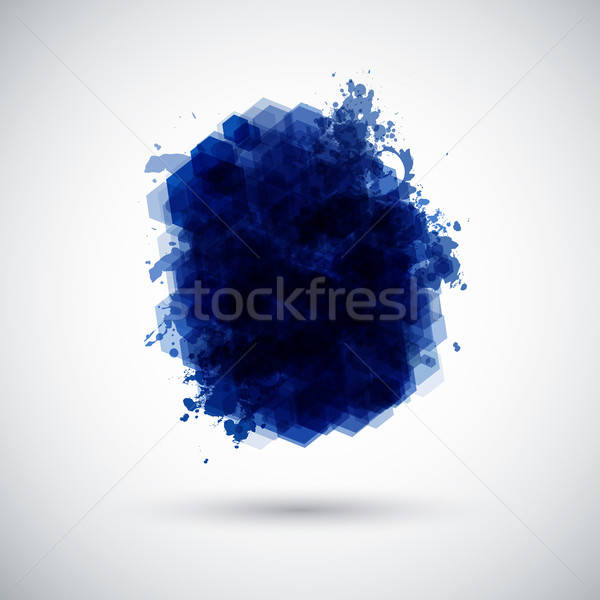 Stylized ink blot made of hexagons with floral elements. Stock photo © alevtina