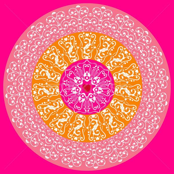 Círculo encaje ornamento colorido floral elementos Foto stock © alevtina
