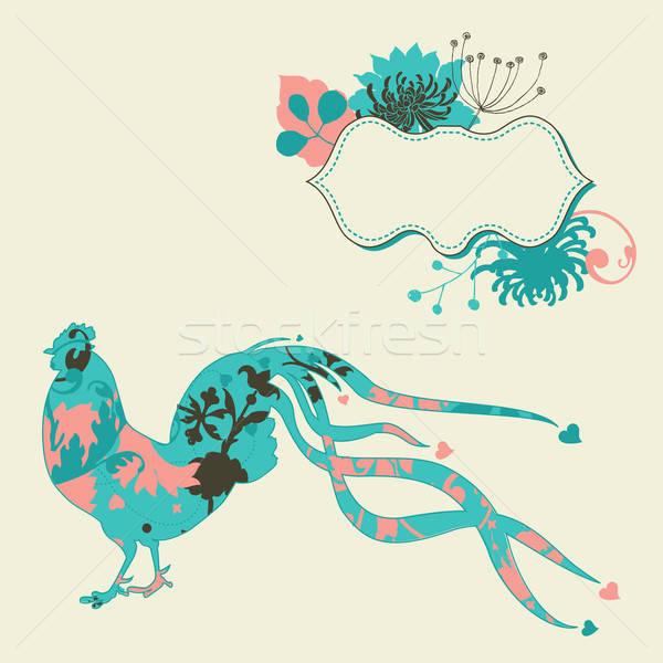 パステル カード オンドリ 定型化された 鳥 フレーム ストックフォト © alevtina