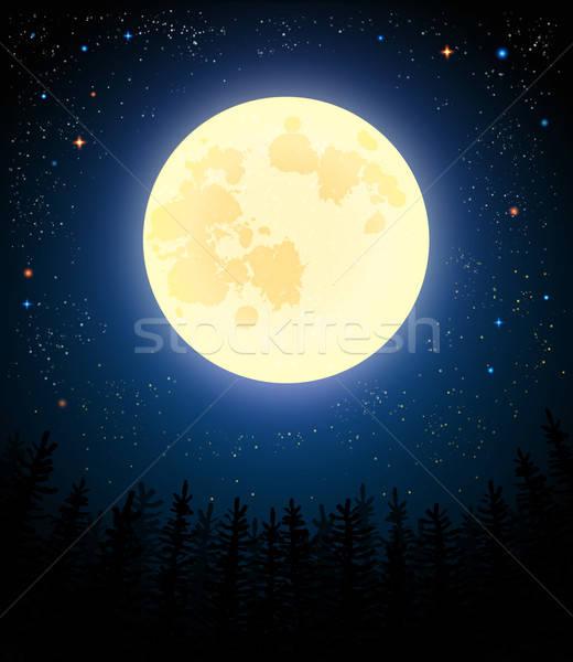 Pleine lune pin forêt rétro ciel bois Photo stock © alevtina