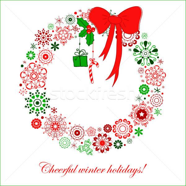 Stylisé Noël couronne flocons de neige arc Photo stock © alevtina