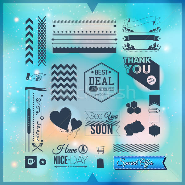 Set of universal icons, borders and elements for Your design. Ve Stock photo © alevtina