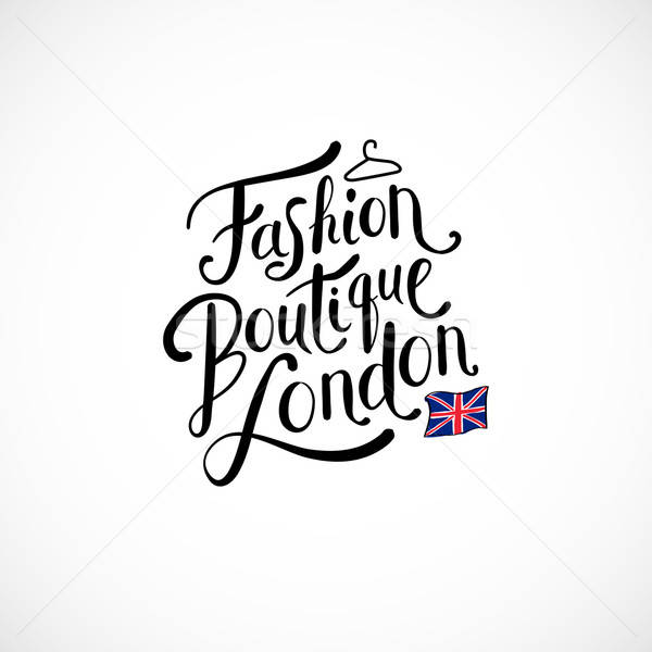 Divat butik London fehér egyszerű szöveg Stock fotó © alevtina