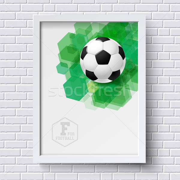 Abstract soccer poster. Image frame on white brick wall with foo ...