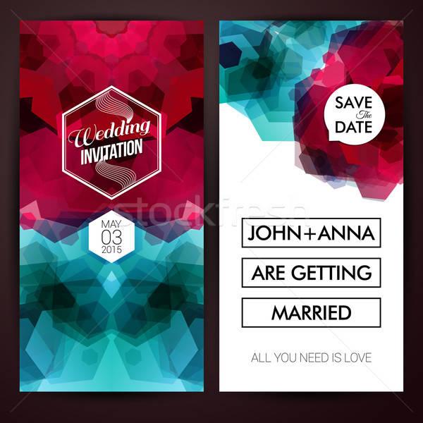 Guardar fecha personal vacaciones establecer invitación de la boda Foto stock © alevtina