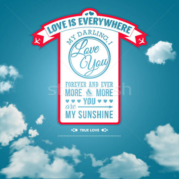 Love you poster in retro style on a summer sky background. Stock photo © alevtina