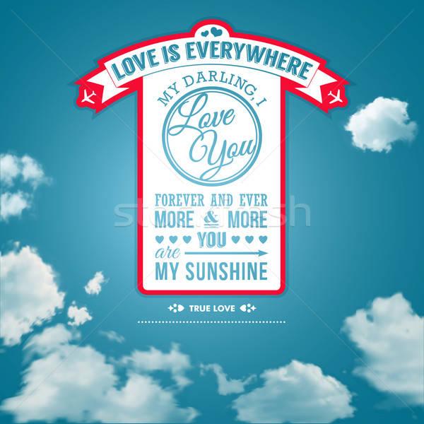 Liefde poster retro-stijl zomer hemel kan Stockfoto © alevtina