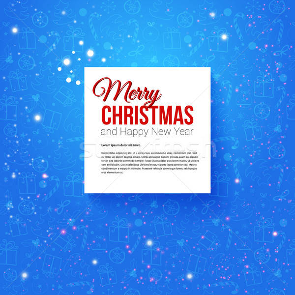 Merry Christmas and Happy New Year Card. Vector illustration. Stock photo © alevtina