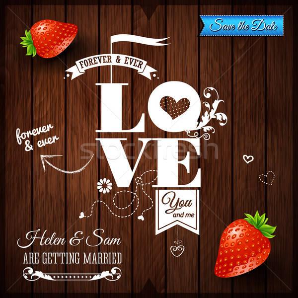 結婚式招待状 ヴィンテージ 木製 タイポグラフィ デザイン 背景 ストックフォト © alevtina