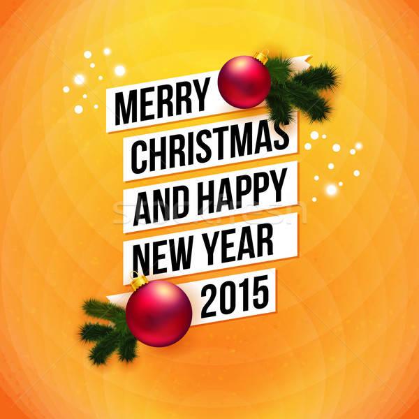Vidám karácsony boldog új évet 2015 kártya fehér Stock fotó © alevtina