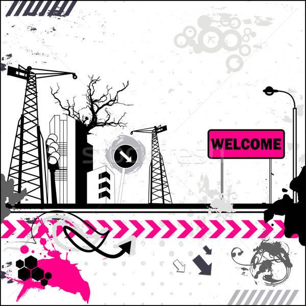 Grunge welkom kaart industrieel landschap communie vector Stockfoto © alevtina