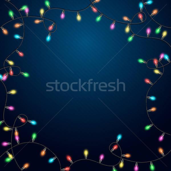 Azul realista grinalda festa feliz luz Foto stock © alevtina