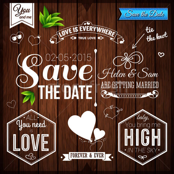 Save the date for personal holiday. Wedding set on wooden backgr Stock photo © alevtina