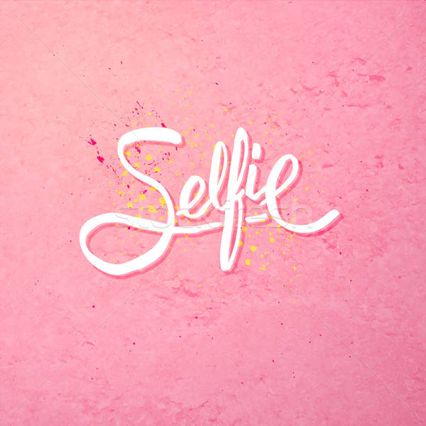 Simple Text Design for Selfie Concept on Pink Stock photo © alevtina