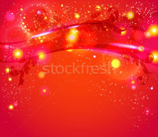 Red abstract background with leafs, glitter, waves.  Stock photo © alevtina