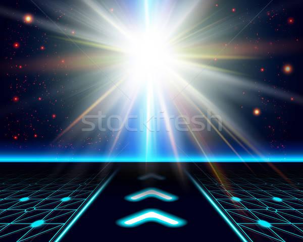 Parlak güneş fantezi kozmik vektör Stok fotoğraf © alevtina