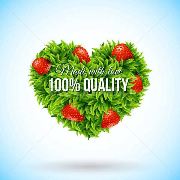 Heart shape label made of leafs. Business label. Vector illustra Stock photo © alevtina
