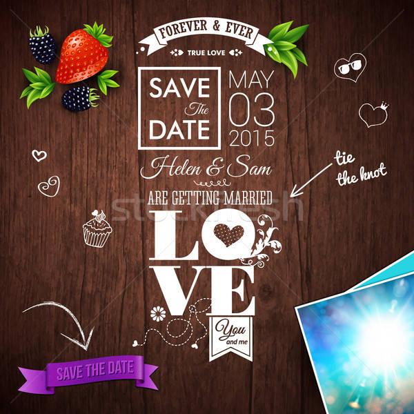Sparen Datum persönlichen Urlaub Hochzeitseinladung Holz Stock foto © alevtina