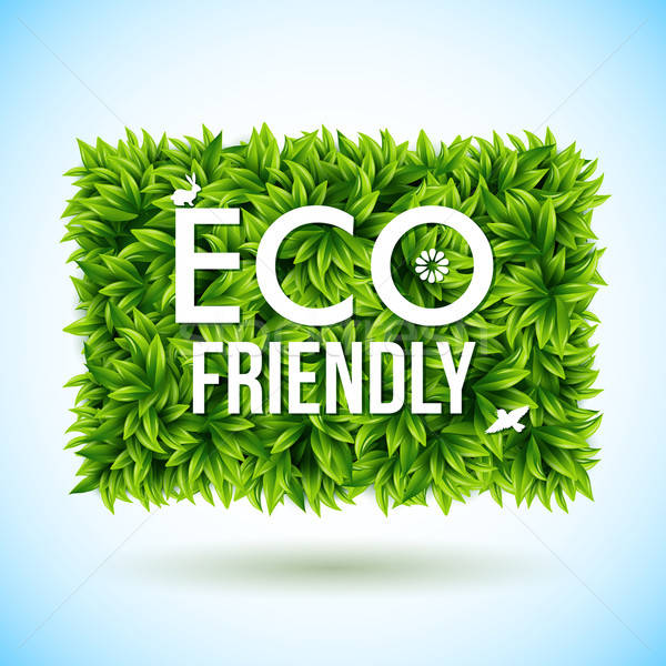 Eco friendly label made of leaves. Vector illustration.  Stock photo © alevtina