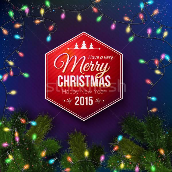Christmas typografie label ontwerp Blauw realistisch Stockfoto © alevtina