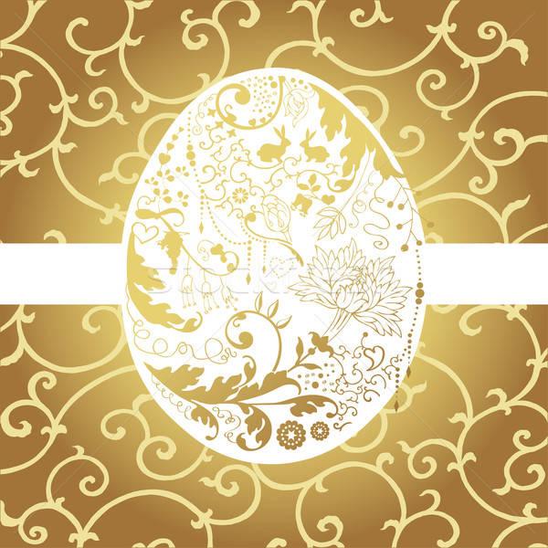 Photo stock: œuf · de · Pâques · Pâques · carte · stylisé · floral · oeuf
