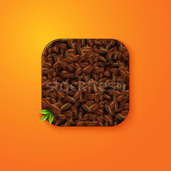 Koffiebonen textuur icon gestileerde zoals mobiele Stockfoto © alevtina