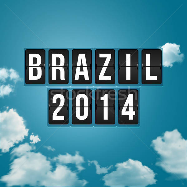 Brazil 2014 football poster. Sky background and timetable styliz Stock photo © alevtina