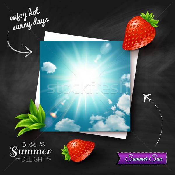 Carte chaud été soleil tableau vecteur Photo stock © alevtina