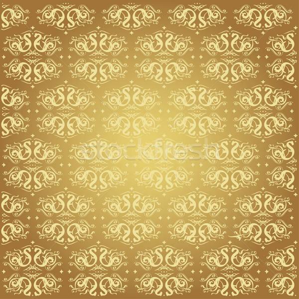 エレガントな 金 抽象的な フローラル パターン ベクトル ストックフォト © alevtina