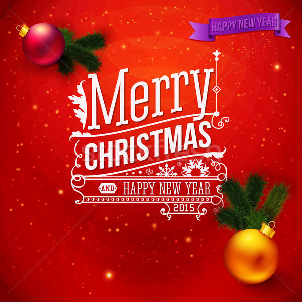 Red traditional Christmas card. Typography design, realistic Chr Stock photo © alevtina