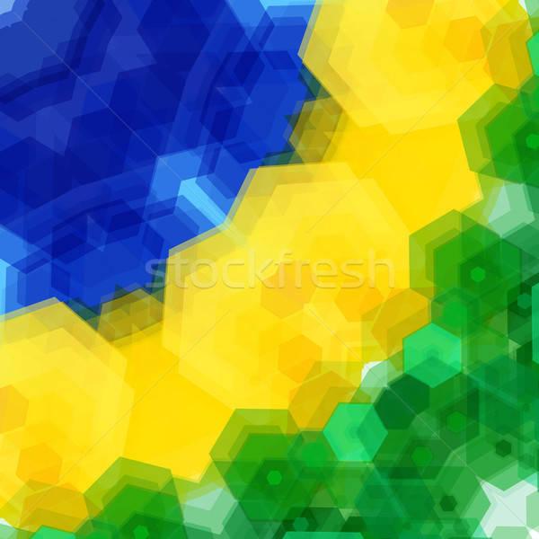 レトロなパターン モザイク ブラジル フラグ 色 ストックフォト © alevtina