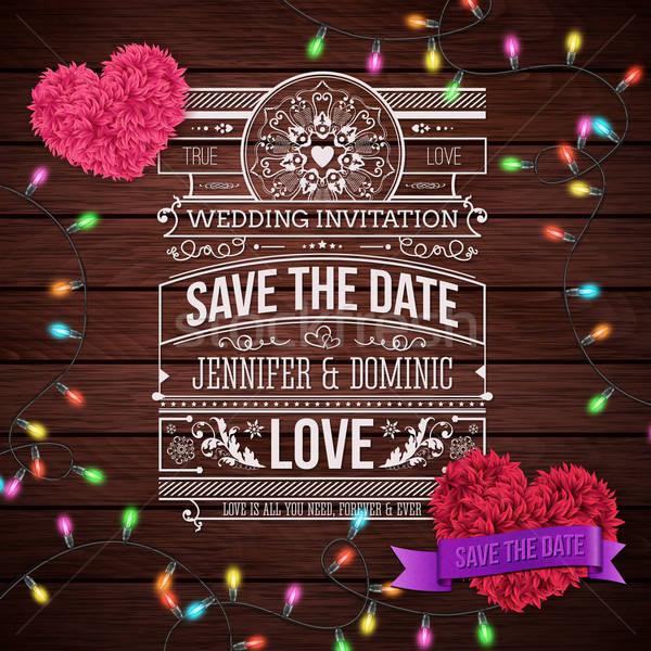 結婚式招待状 デザイン 木製 芸術的 中心 ストックフォト © alevtina