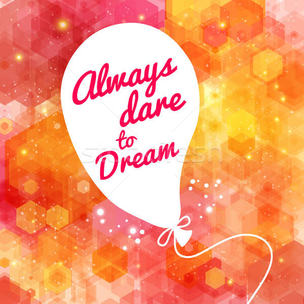 White drawn balloon with message on the lovely hexagon backgroun Stock photo © alevtina