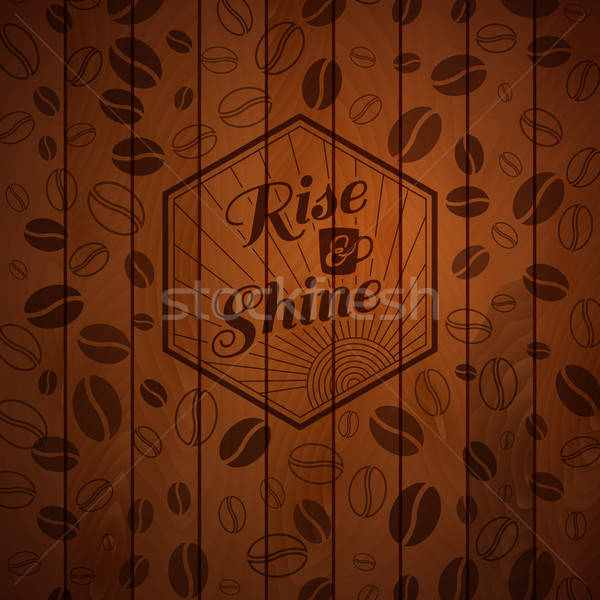Wooden panel with burnt out label and coffee beans. Stock photo © alevtina