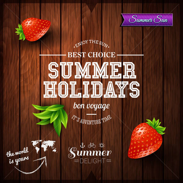 Summer design. Poster for summer holidays. Wooden background and Stock photo © alevtina