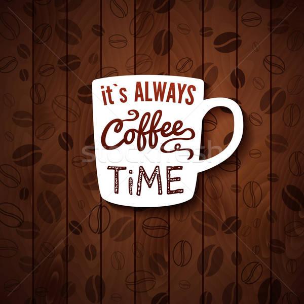 Sempre café tempo cartaz xícaras de café Foto stock © alevtina