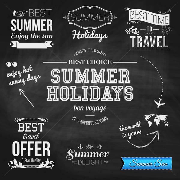 Summer design on chalkboard background. Set of typographic label Stock photo © alevtina