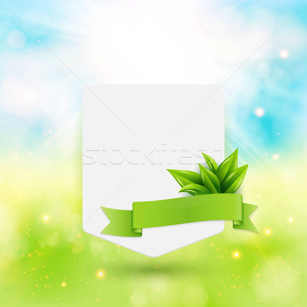 Paper note with ribbon and leaves on bright summer background. V Stock photo © alevtina