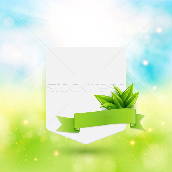 Papier nota lint bladeren heldere zomer Stockfoto © alevtina