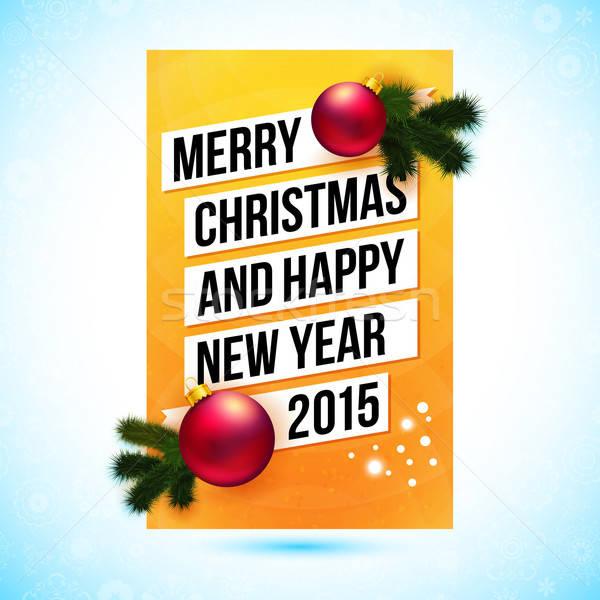 Vidám karácsony boldog új évet 2015 kártya vektor Stock fotó © alevtina