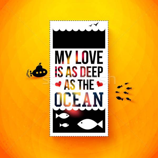 愛 深い 海 タイポグラフィ デザイン ストックフォト © alevtina
