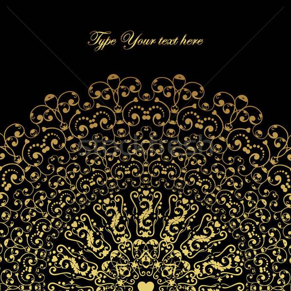 черный кружево элегантный карт орнамент Сток-фото © alevtina