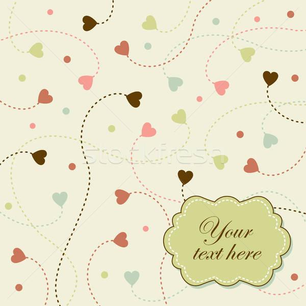 романтические ретро карт Flying сердцах вектора Сток-фото © alevtina