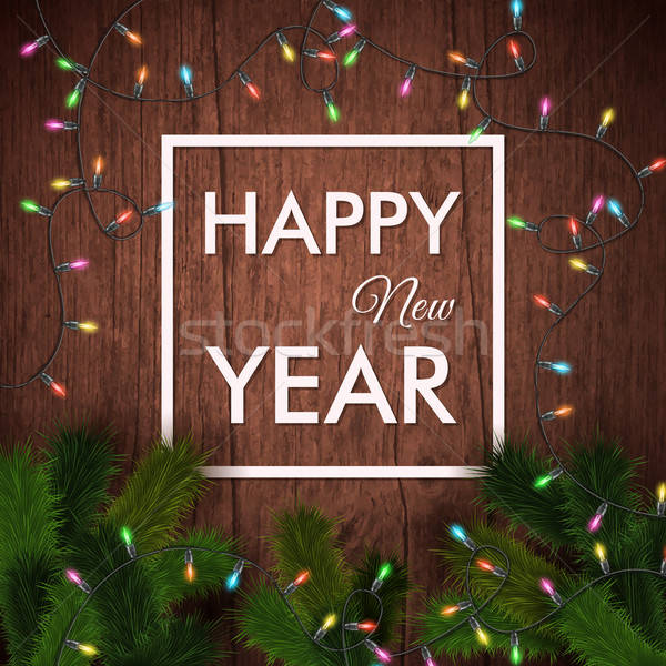 Happy new year card. Wooden background, realistic garland and Ch Stock photo © alevtina