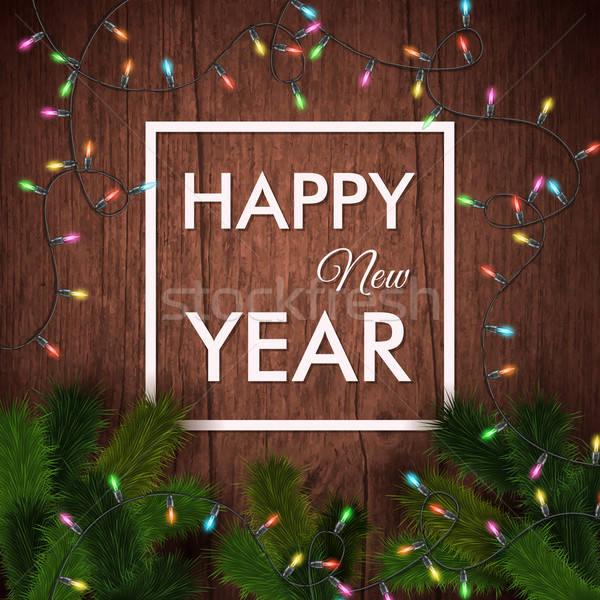 Happy new year carte bois réaliste guirlande Noël Photo stock © alevtina
