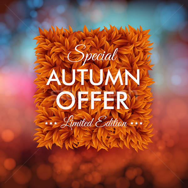 Special autumn offer advertisement poster. Blurred background wi Stock photo © alevtina